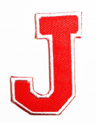 Red Alphabet Letter J patch Kids Learning School ABC Iron On patch Ideal for adorning your jeans, hats, bags, jackets and shirts.