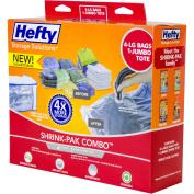 Hefty Shrink-Pak Vacuum Seal Bags, 4 Large Bags and 1 Jumbo Zipper Tote