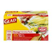 Glad Food Storage Plastic Bag Variety Pack, Gallon and Quart, 180 ct