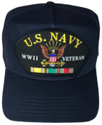 U.S. NAVY WWII Veteran Hat with ribbons and Navy Crest Cap - NAVY BLUE - Veteran Owned Business
