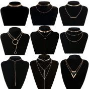 Tpocean 9 PCS Choker Necklaces Gold Thin Chain Disc Double Layers Long Tassel Pendant Sexy Charming Chokers Set for Women Girls Teen 90s