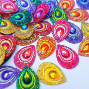 Sparkly Buttons Drop AB Colour Sew On Crafts Rhinestones Flatback Beads Sewing For Costume Wedding Dress Decorations 18x25mm 50pcs