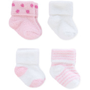Child of Mine by Carter's Newborn Baby Girl Chenille Cuff Socks, 4 Pack
