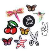 10 Pieces Iron-Glue on Embroidered Applique Decoration Patches DIY Sew on Patch for Clothing Cloth Caps