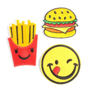 3 Pieces Iron-Glue on Embroidered Applique Decoration Patches DIY Sew on Patch for Clothing Cloth Caps