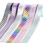 Mermaid Ribbon Laser Sequins Fish Scales Grosgrain Ribbon 2.5cm Wide For Decoration and DIY Handmande Accessories
