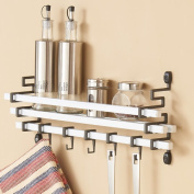 Danya B Metal Wall Mount Spice Rack with Kitchen Utensil Hanging Hook