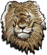 Lion king of the jugle cat puma jaguar tiger cheetah animal wildlife predator embroidered applique iron-on patch new Measures 8.3cm wide by 10cm tall.