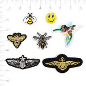 7 Pieces Iron On Embroidered Applique Decoration Patches DIY Sew on Patch for Clothing and Caps