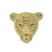 25cm DIY Clothes Sewing Patch Sequins Rope Golden Leopard Head Large Applique Fashion Accessories for T-shirt