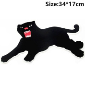 Black Leopard Embroidered Patch Applique Large Panthers Suede Iron On Patches