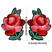 2 Pairs Floral Embroidered Patches Iron or Sew on Patches Rose Flower Applique Motif for Clothing Accessories Decoration 1035