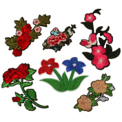 Floral Embroidered Patches Iron or Sew on Patches Rose Flower Applique Motif for Clothing Accessories Decoration 1031 Pack of 6