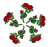Floral Embroidered Patches Iron or Sew on Patches Rose Flower Applique Motif for Clothing Accessories Decoration 1031 Pack of 5