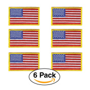 6 Pack - American Flag Embroidered Patch, Gold border USA United States of America, US flag Patch, sew on, Military / Police flag