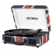 Portable Victrola Suitcase Record Player with Bluetooth and 3 Speed Turntable, UK Flag.