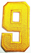 HHO YELLOW Number 9 No 9 math counting no 9 school Patch Embroidered DIY Patches, Cute Applique Sew Iron on Kids Craft Patch for Bags Jackets Jeans Clothe
