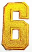 HHO YELLOW Number 6 No 6 math counting no 6 school Patch Embroidered DIY Patches, Cute Applique Sew Iron on Kids Craft Patch for Bags Jackets Jeans Clothes