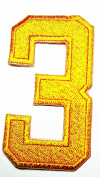 HHO YELLOW Number 3 No 3 math counting no 3 school Patch Embroidered DIY Patches, Cute Applique Sew Iron on Kids Craft Patch for Bags Jackets Jeans Clothes