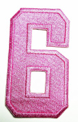 HHO PINK Number 6 No 6 math counting no 6 school Patch Embroidered DIY Patches, Cute Applique Sew Iron on Kids Craft Patch for Bags Jackets Jeans Clothes