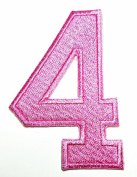 HHO PINK Number 4 No 4 math counting no 4 school Patch Embroidered DIY Patches, Cute Applique Sew Iron on Kids Craft Patch for Bags Jackets Jeans Clothes