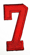 HHO RED Number 7 No 7 math counting no 7 school Patch Embroidered DIY Patches, Cute Applique Sew Iron on Kids Craft Patch for Bags Jackets Jeans Clothes