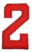 HHO RED Number 2 No 2 math counting no 2 school Patch Embroidered DIY Patches, Cute Applique Sew Iron on Kids Craft Patch for Bags Jackets Jeans Clothes