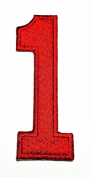 HHO RED Number 1 No 1 math counting no 1 school Patch Embroidered DIY Patches, Cute Applique Sew Iron on Kids Craft Patch for Bags Jackets Jeans Clothes