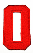 HHO RED Number 0 No 0 math counting no 0 school Patch Embroidered DIY Patches, Cute Applique Sew Iron on Kids Craft Patch for Bags Jackets Jeans Clothes