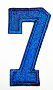 HHO BLUE Number 7 No 7 math counting no 7 school Patch Embroidered DIY Patches, Cute Applique Sew Iron on Kids Craft Patch for Bags Jackets Jeans Clothes