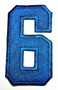 HHO BLUE Number 6 No 6 math counting no 6 school Patch Embroidered DIY Patches, Cute Applique Sew Iron on Kids Craft Patch for Bags Jackets Jeans Clothes