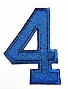 HHO BLUE Number 4 No 4 math counting no 4 school Patch Embroidered DIY Patches, Cute Applique Sew Iron on Kids Craft Patch for Bags Jackets Jeans Clothes