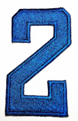 HHO BLUE Number 2 No 2 math counting no 2 school Patch Embroidered DIY Patches, Cute Applique Sew Iron on Kids Craft Patch for Bags Jackets Jeans Clothes