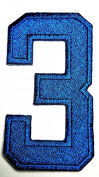 HHO BLUE Number 3 No 3 math counting no 3 school Patch Embroidered DIY Patches, Cute Applique Sew Iron on Kids Craft Patch for Bags Jackets Jeans Clothes