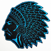 HHO Red Indian tribal chief (Black Blue) Patch Embroidered DIY Patches, Cute Applique Sew Iron on Kids Craft Patch for Bags Jackets Jeans Clothes