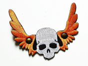 HHO Skull Angel Wing Motorcycle Biker Patch Embroidered DIY Patches, Cute Applique Sew Iron on Kids Craft Patch for Bags Jackets Jeans Clothes