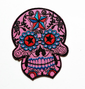 HHO Pink White Flower Sugar Skull Rider Biker Motorcyle Bike Novelty Patch Embroidered DIY Patches Cute Applique Sew Iron on Kids Craft Patch for Bags Jackets Jeans Clothes