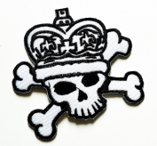 HHO White Danger Skull Rider Biker Motorcycle Patch Embroidered DIY Patches Cute Applique Sew Iron on Kids Craft Patch for Bags Jackets Jeans Clothes
