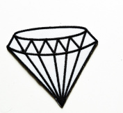 HHO White diamond gemstone carat retro kitsch jewellery embroidered Patch Embroidered DIY Patches, Cute Applique Sew Iron on Kids Craft Patch for Bags Jackets Jeans Clothes
