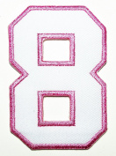 HHO White Pink Number 8 No 8 math counting no 8 school Patch Embroidered DIY Patches, Cute Applique Sew Iron on Kids Craft Patch for Bags Jackets Jeans Clothes