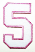 HHO White Pink Number 5 No 5 math counting no 5 school Patch Embroidered DIY Patches, Cute Applique Sew Iron on Kids Craft Patch for Bags Jackets Jeans Clothes