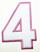HHO White Pink Number 4 No 4 math counting no 4 school Patch Embroidered DIY Patches, Cute Applique Sew Iron on Kids Craft Patch for Bags Jackets Jeans Clothes
