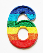 HHO Rainbow Number 6 No 6 math counting no 6 school Patch Embroidered DIY Patches, Cute Applique Sew Iron on Kids Craft Patch for Bags Jackets Jeans Clothes