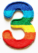 HHO Rainbow Number 3 No 3 math counting no 3 school Patch Embroidered DIY Patches, Cute Applique Sew Iron on Kids Craft Patch for Bags Jackets Jeans Clothess