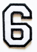 HHO White-Black Number 6 No 6 math counting no 6 school Patch Embroidered DIY Patches, Cute Applique Sew Iron on Kids Craft Patch for Bags Jackets Jeans Clothes
