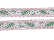 Beautiful Floral Embroidered Pattern Cotton Ribbons Tape Lace Trim 16mm Wide M2747/15 (Beige with Green & White Pattern