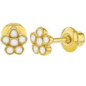 18k Gold Plated White Enamel Little Flower Screw Back Earrings Infants Girls
