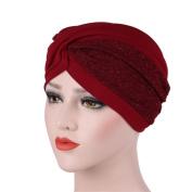 Ouneed Women India Hat Muslim Ruffle Cancer Chemo Hat Beanie Scarf Turban Head Wrap Cap