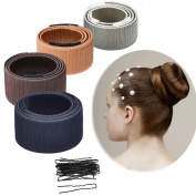 Kyerivs Hair Bun Shapers, 4 Pcs Modern Hair Styling Maker, Beauty Crown and Donut Hair Style Tools with 20 Pcs Hair Pins
