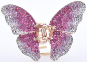 Beautiful Ladies Gifts Gold Tone Metal Butterfly Hair Claw Clamp Diamante Crystal Hair Pins Clips/Barrettes